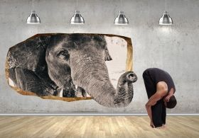 3D Mural Wall Art An elephant, Glowing in the dark, 2.20 x 1.20 m