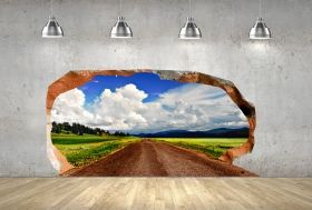 3D Mural Wall Art The way to the clouds, Glowing in the dark, 2.20 x 1.20 m