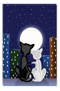 Canvas Wall Art Cats, Glowing in the dark, 60 x 90 cm