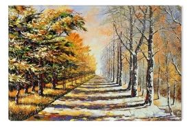 Canvas Wall Art Autumn and Winter, Glowing in the dark, 80 x 120 cm