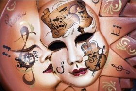 Canvas Wall Art Musical masks, Glowing in the dark, 60 x 90 cm
