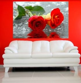 Canvas Wall Art Roses on water, Glowing in the dark, 60 x 90 cm