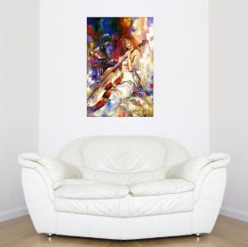 Canvas Wall Art Singing to the cello, Glowing in the dark, 80 x 120 cm