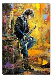 Canvas Wall Art Young man playing the saxophone, Glowing in the dark, 60 x 90 cm