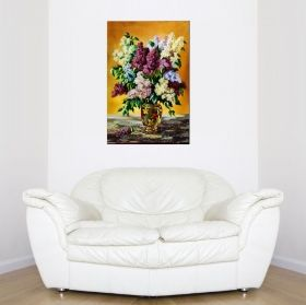 Tablou Liliac multicolor, luminos in intuneric, 60 x 90 cm