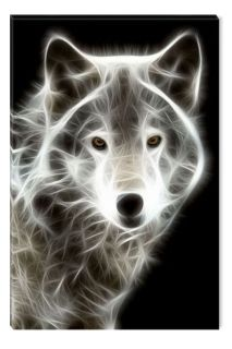 Canvas Wall Art White Wolf, Glowing in the dark, 60 x 90 cm