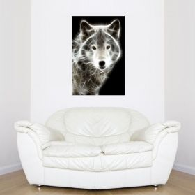 Canvas Wall Art White Wolf, Glowing in the dark, 80 x 120 cm