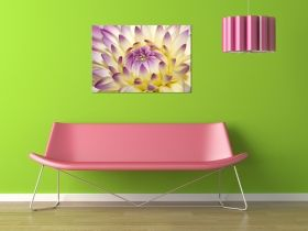 Canvas Wall Art The flower opens, Glowing in the dark, 80 x 120 cm