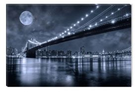 Canvas Wall Art Brooklyn Bridge, Glowing in the dark, 60 x 90 cm