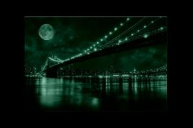 Canvas Wall Art Brooklyn Bridge, Glowing in the dark, 80 x 120 cm