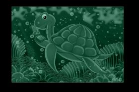 Canvas Wall Art Tortoise, Glowing in the dark, 60 x 90 cm