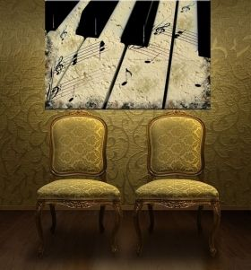Tablou Pian vintage, luminos in intuneric, 80 x 120 cm