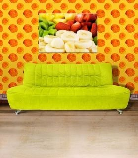 Canvas Wall Art Fruit plate, Glowing in the dark, 80 x 120 cm