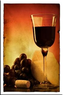 Canvas Wall Art Glass of wine, Glowing in the dark, 80 x 120 cm
