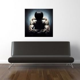 Canvas Wall Art Naked Athlet, Glowing in the dark, 80 x 80 cm
