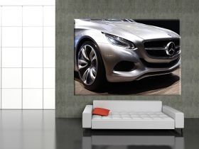 Tablou Mercedes Auto Show, luminos in intuneric, 80 x 120 cm