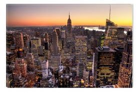 Canvas Wall Art Sunset in Manhattan, New York, Glowing in the dark, 60 x 90 cm