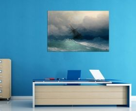 Tablou Aivazovschy Ship On Stormy Seas, luminos in intuneric, 60 x 90 cm