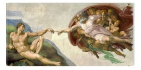 Tablou Michelangelo The Creation Of Adam 1514, luminos in intuneric, 60 x 120 cm