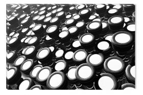 Canvas Wall Art Black and white drums, Glowing in the dark, 60 x 90 cm