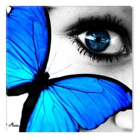 Canvas Wall Art The butterfly eye, Glowing in the dark, 80 x 80 cm