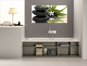 Canvas Wall Art 3 Zen stones, Glowing in the dark, 60 x 120 cm
