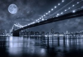 Mural Wall Art Brooklyn Bridge, Glowing in the dark, 1.83 x 1.28 m