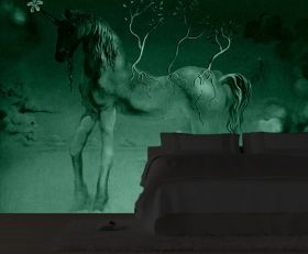Mural Wall Art Unicorn, Salvador Dali, Glowing in the dark, 3.66 x 2.56 m