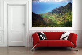 Mural Wall Art Rainbow across the mountains, Glowing in the dark, 1.83 x 1.28 m