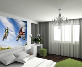 Mural Wall Art Motocross jump, Glowing in the dark, 3.66 x 2.56 m