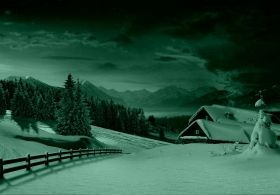 Mural Wall Art Winter landscape, Glowing in the dark, 3.66 x 2.56 m