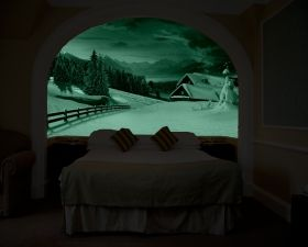 Mural Wall Art Winter landscape, Glowing in the dark, 1.83 x 1.28 m