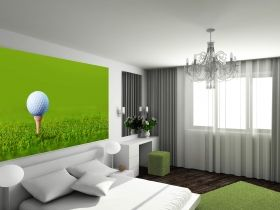 Mural Wall Art Golf, Glowing in the dark, 1.83 x 1.28 m