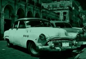 Mural Wall Art Cars in Cuba, Glowing in the dark, 1.83 x 1.28 m