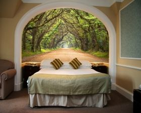 Mural Wall Art Tree tunnel, Glowing in the dark, 1.83 x 1.28 m