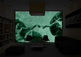 Mural Wall Art Creation of Adam, Michelangelo, Glowing in the dark, 3.66 x 2.56 m