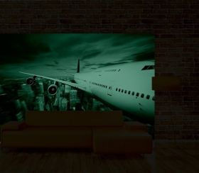 Mural Wall Art A plane in my room, Glowing in the dark, 3.66 x 2.56 m