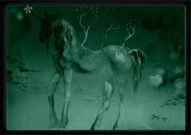 Luxury Framed Wall Art Unicorn, Glowing in the dark, 70 x 100 cm