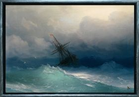 Luxury Framed Wall Art Ship on the storm, Glowing in the dark, 70 x 100 cm