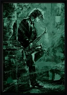 Luxury Framed Wall Art Saxophonist, Glowing in the dark, 70 x 100 cm