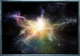 Luxury Framed Wall Art Galaxy, Glowing in the dark, 50 x 70 cm
