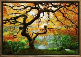 Luxury Framed Wall Art Autumn maple, Glowing in the dark, 70 x 100 cm