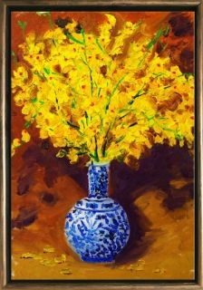 Luxury Framed Wall Art Yellow flowers, Glowing in the dark, 50 x 70 cm