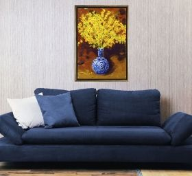 Luxury Framed Wall Art Yellow flowers, Glowing in the dark, 70 x 100 cm