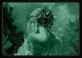 Luxury Framed Wall Art Back of a woman, Glowing in the dark, 50 x 70 cm