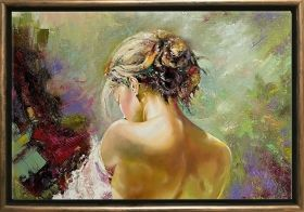 Luxury Framed Wall Art Back of a woman, Glowing in the dark, 70 x 100 cm