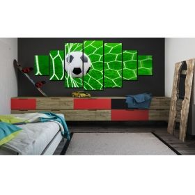 Canvas Wall Art Ball in the gate, Glowing in the dark, Set of 7, 100 x 240 cm (1 panel 40 x 100 cm, 2 panels 35 x 90 cm, 2 panels 30 x 60 cm, 2 panels 30 x 40 cm)