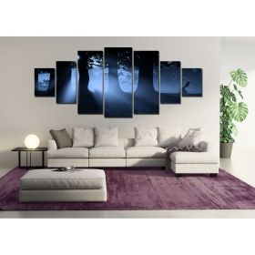 Canvas Wall Art Blue forest, Glowing in the dark, Set of 7, 100 x 240 cm (1 panel 40 x 100 cm, 2 panels 35 x 90 cm, 2 panels 30 x 60 cm, 2 panels 30 x 40 cm)