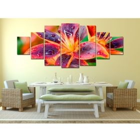 Canvas Wall Art Multicolor Lily, Glowing in the dark, Set of 7, 100 x 240 cm (1 panel 40 x 100 cm, 2 panels 35 x 90 cm, 2 panels 30 x 60 cm, 2 panels 30 x 40 cm)