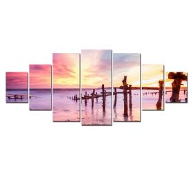 Canvas Wall Art Pink sunset, Glowing in the dark, Set of 7, 100 x 240 cm (1 panel 40 x 100 cm, 2 panels 35 x 90 cm, 2 panels 30 x 60 cm, 2 panels 30 x 40 cm)